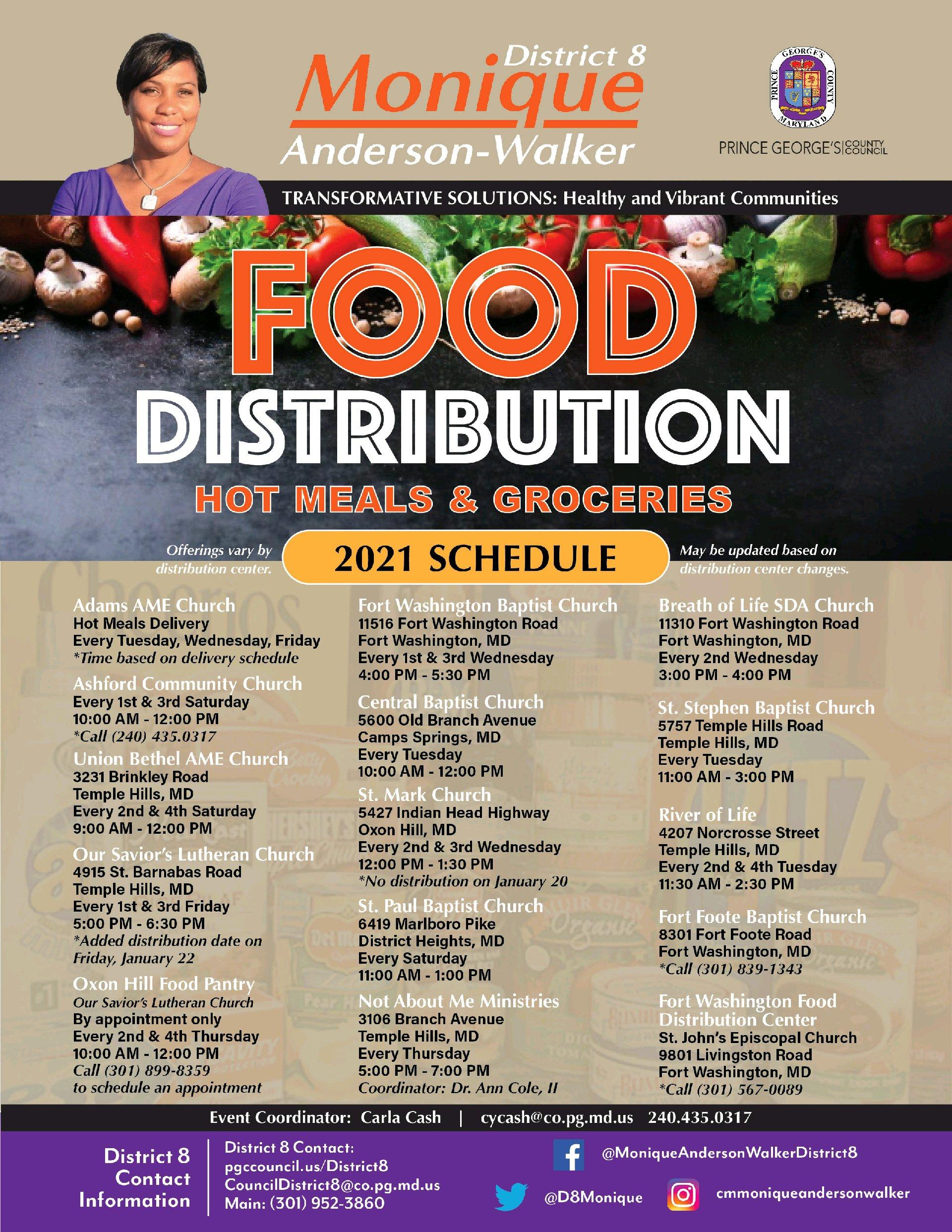 2021 Food Distribution Schedule for District 8 & Partners
